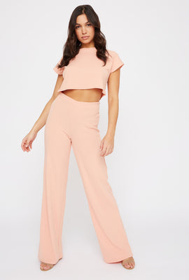 Ribbed Pull-On Wide Leg Pant