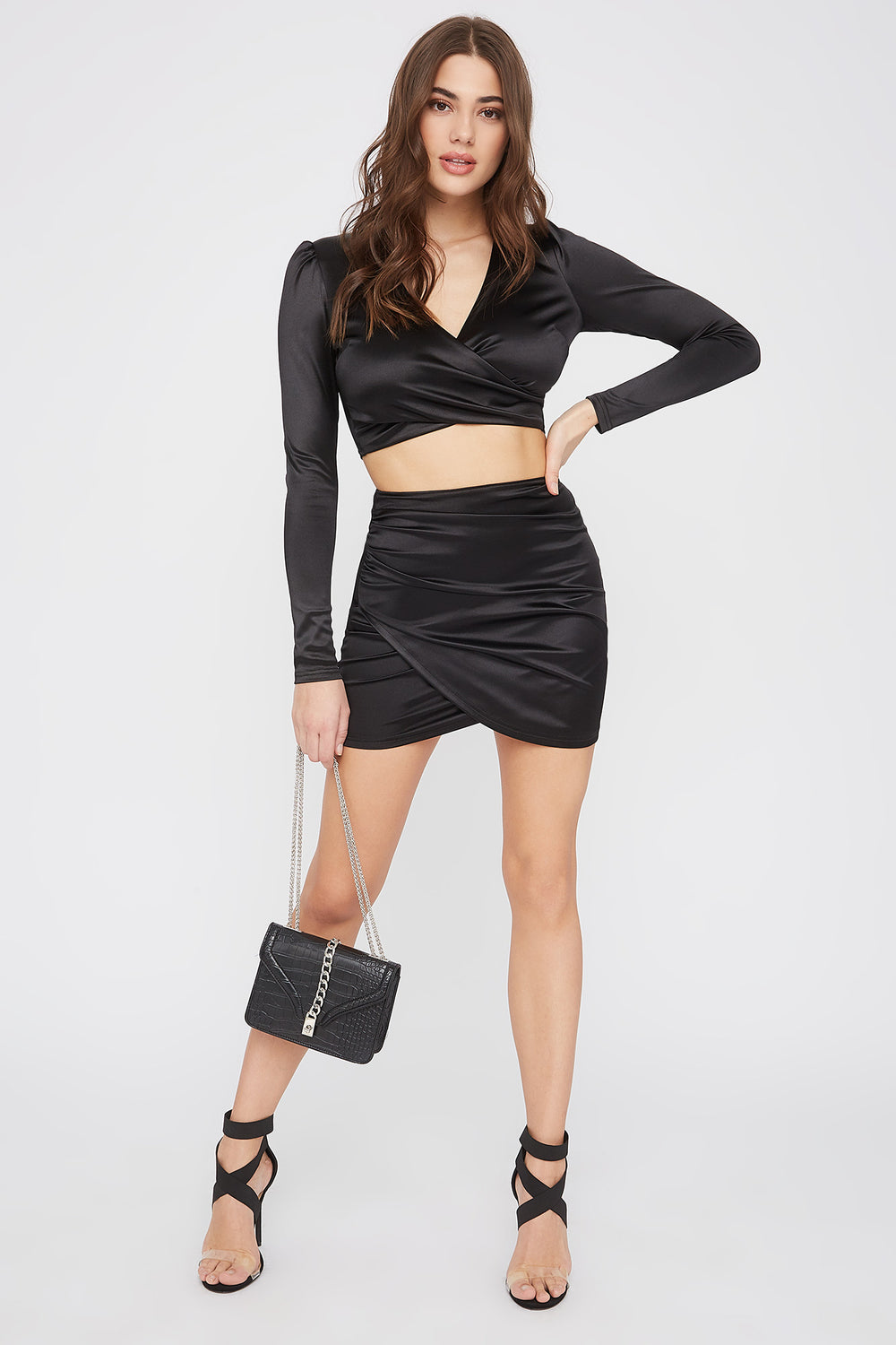 Satin Solid Tulip Mini Skirt Black