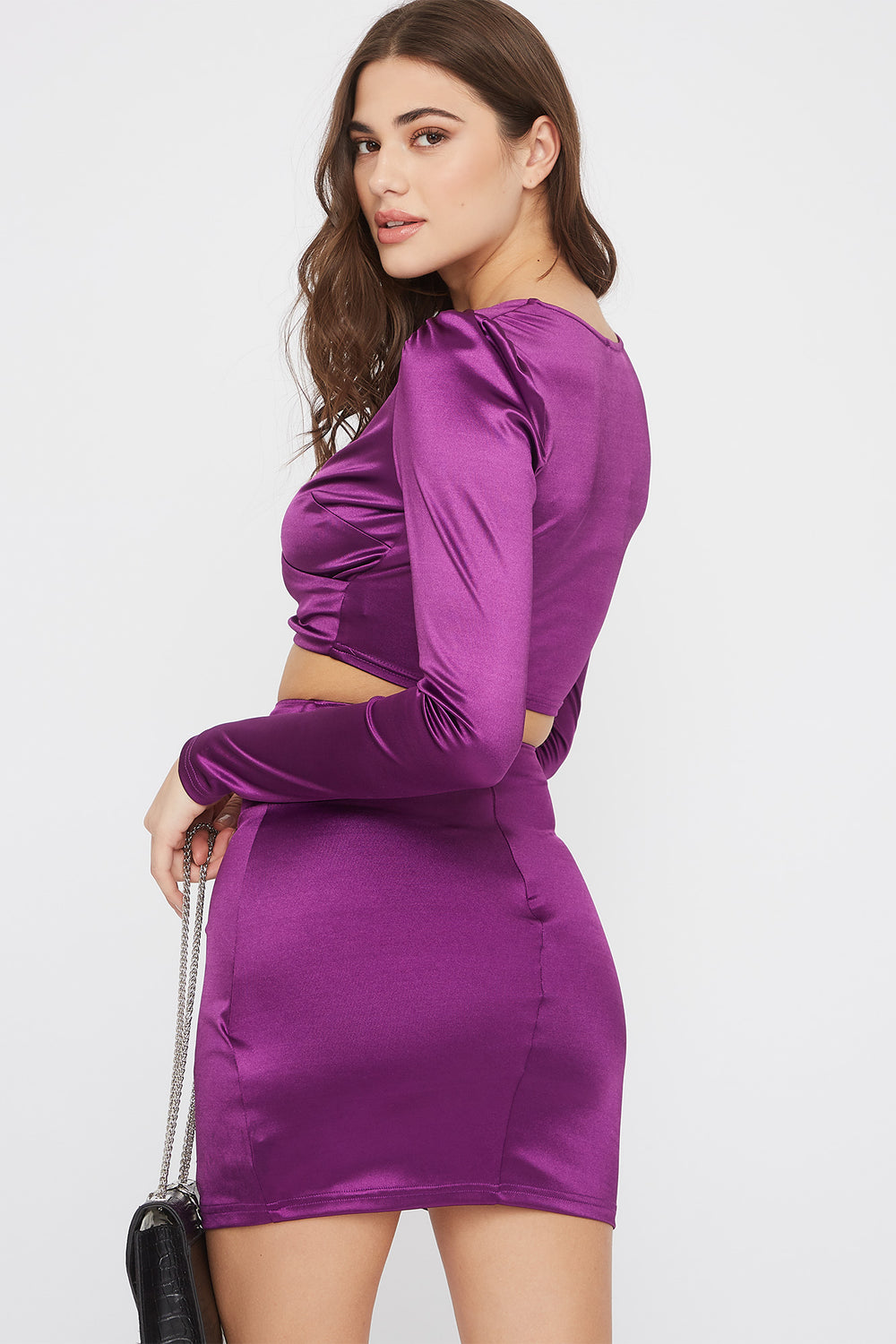 Satin Solid Tulip Mini Skirt Purple