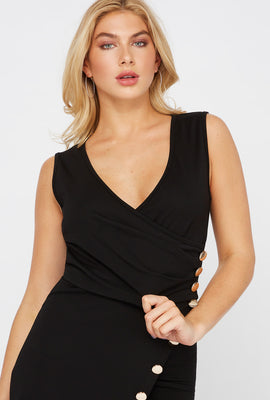 Cropped Wrap Front Button V-Neck Top