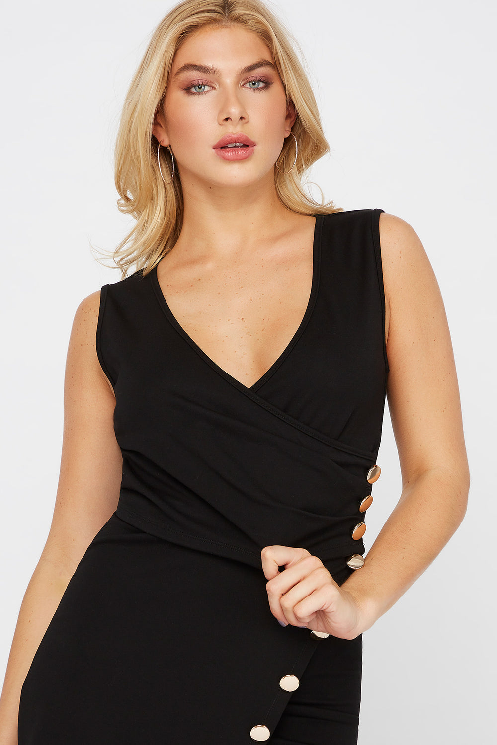 Cropped Wrap Front Button V-Neck Top Black