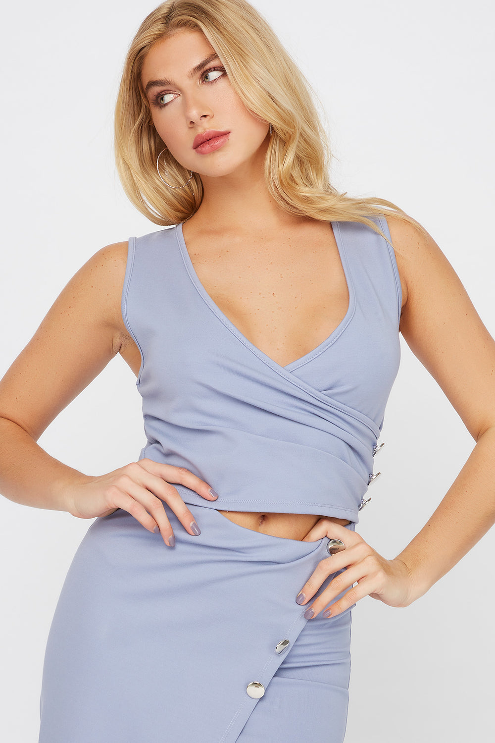 Cropped Wrap Front Button V-Neck Top Blue