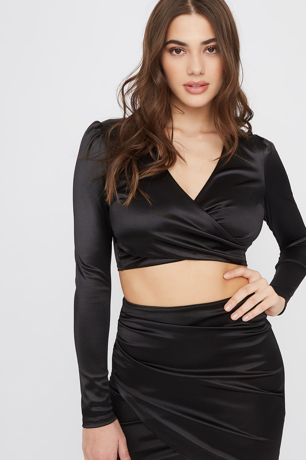 Satin Solid V-Neck Cropped Top Black