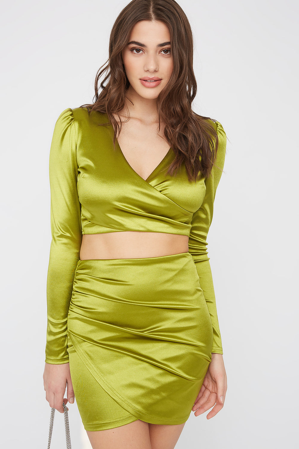 Satin Solid V-Neck Cropped Top Neon Green