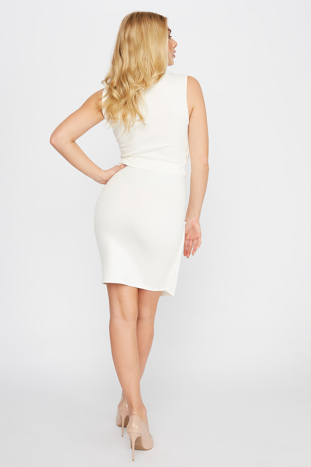 Wrap Front Button Midi Skirt Ivory