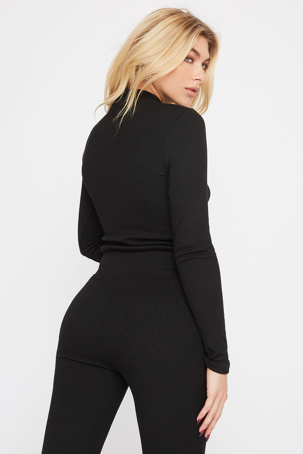 Mock Neck Ribbed Long Sleeve Black