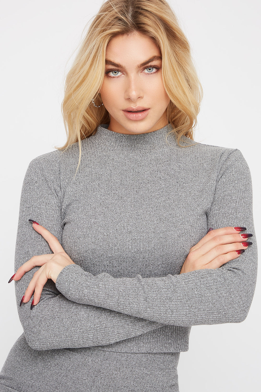 Mock Neck Ribbed Long Sleeve Heather Grey