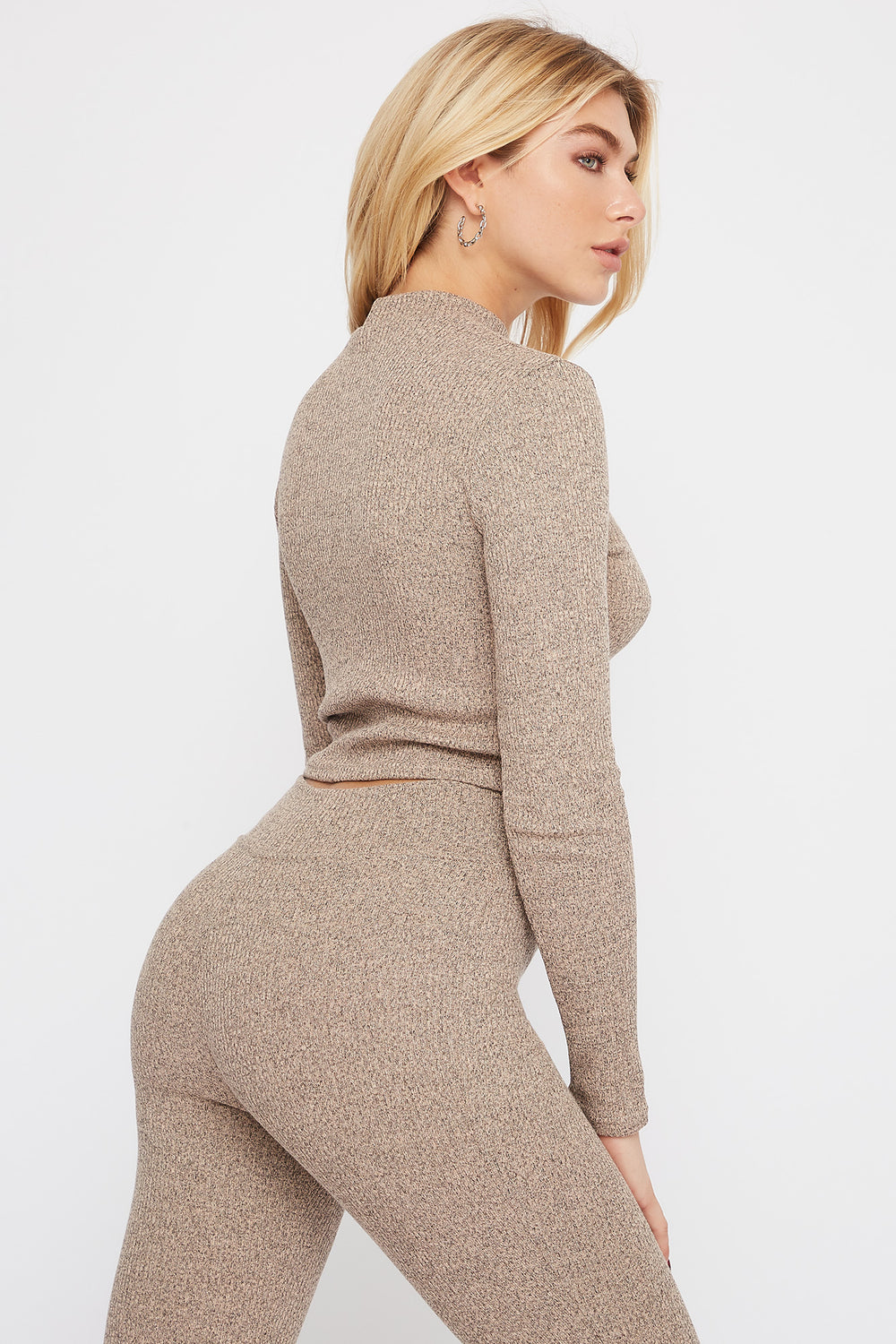 Mock Neck Ribbed Long Sleeve Taupe
