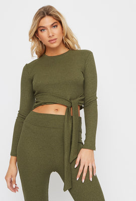 Ribbed Tie Cropped Long Sleeve