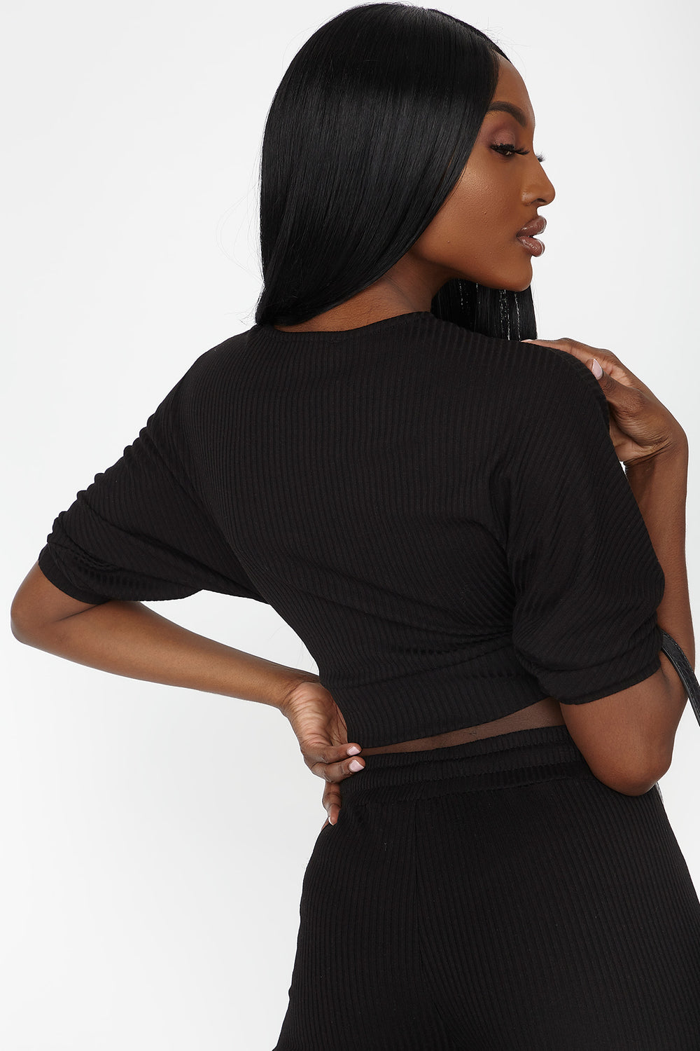 Ribbed Hacci Knit Wrap Cropped Top Black