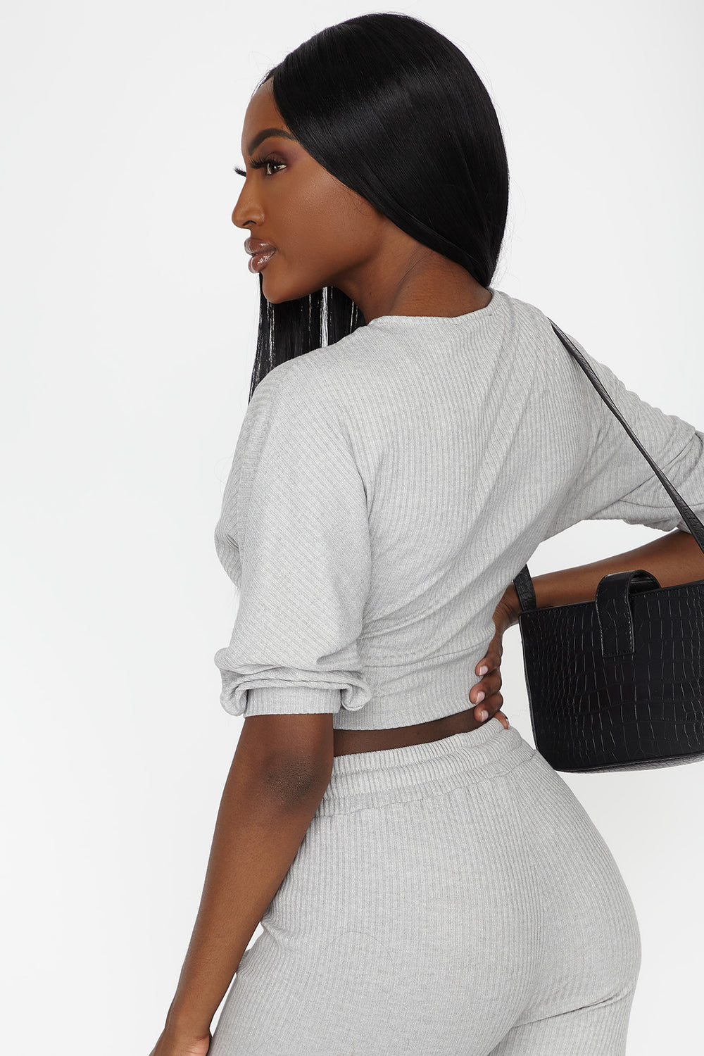 Ribbed Hacci Knit Wrap Cropped Top Heather Grey