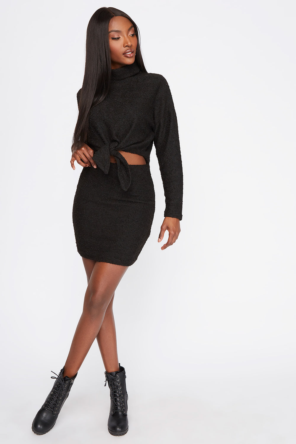 Textured Knit Mini Skirt Black