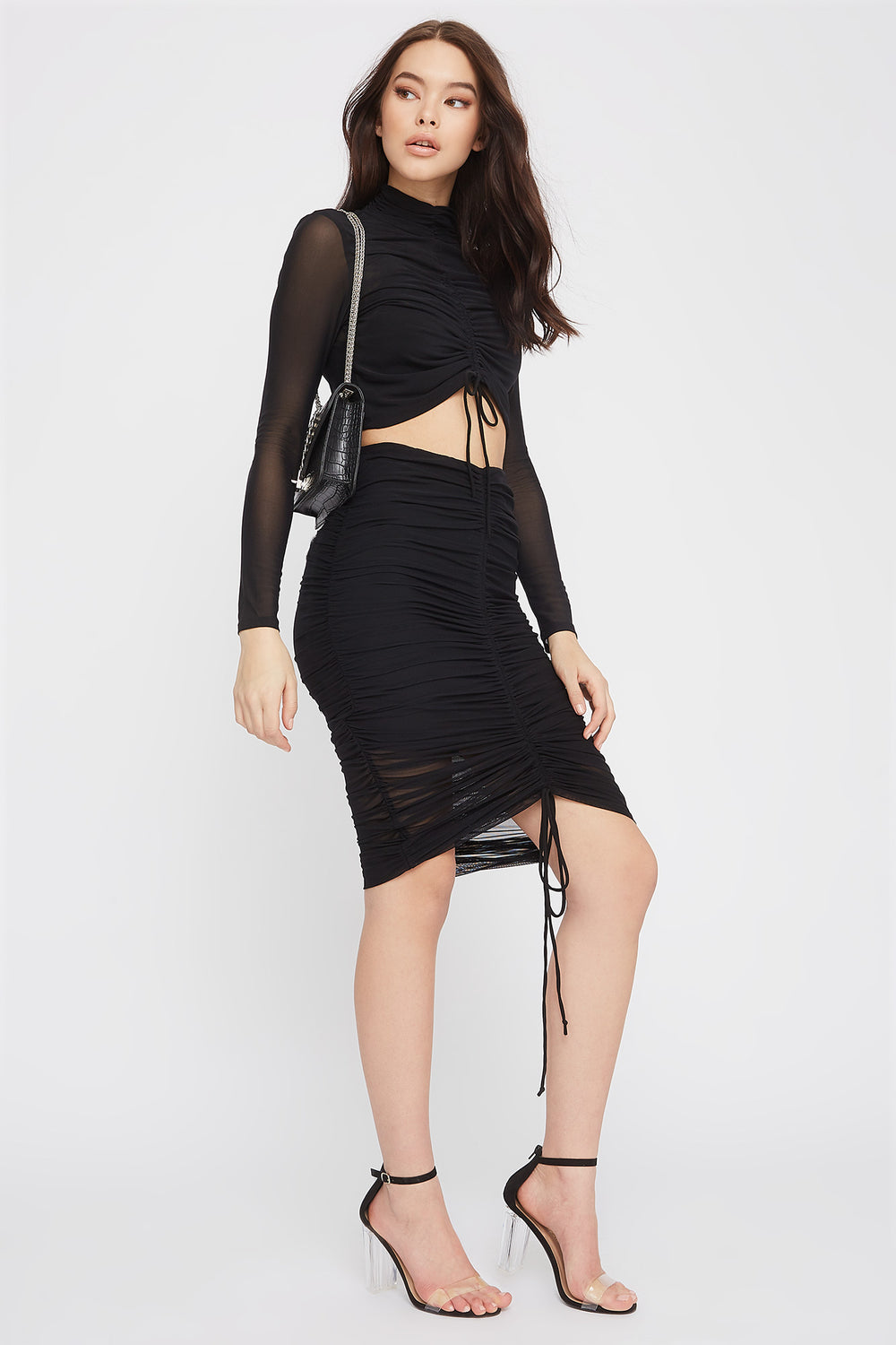 Drawstring Mesh Midi Skirt Black