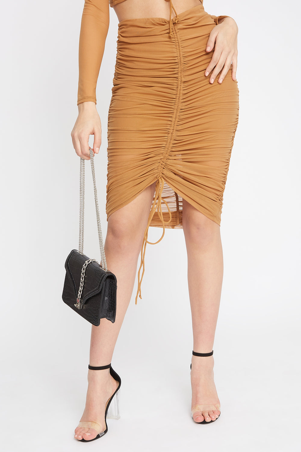 Drawstring Mesh Midi Skirt Tan