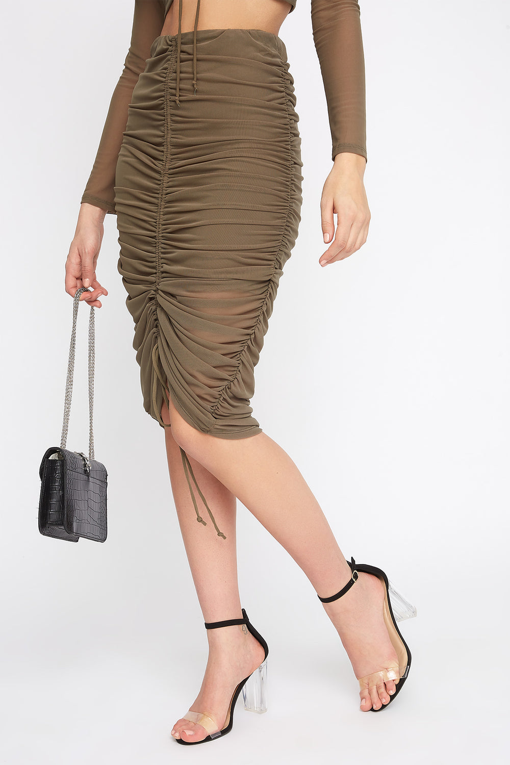 Drawstring Mesh Midi Skirt Dark Green