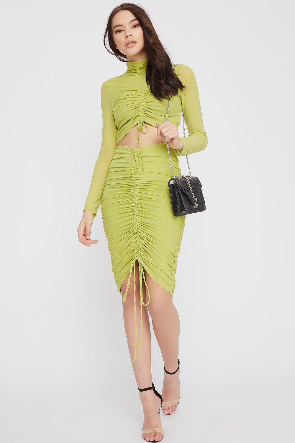 Drawstring Mesh Midi Skirt Neon Green