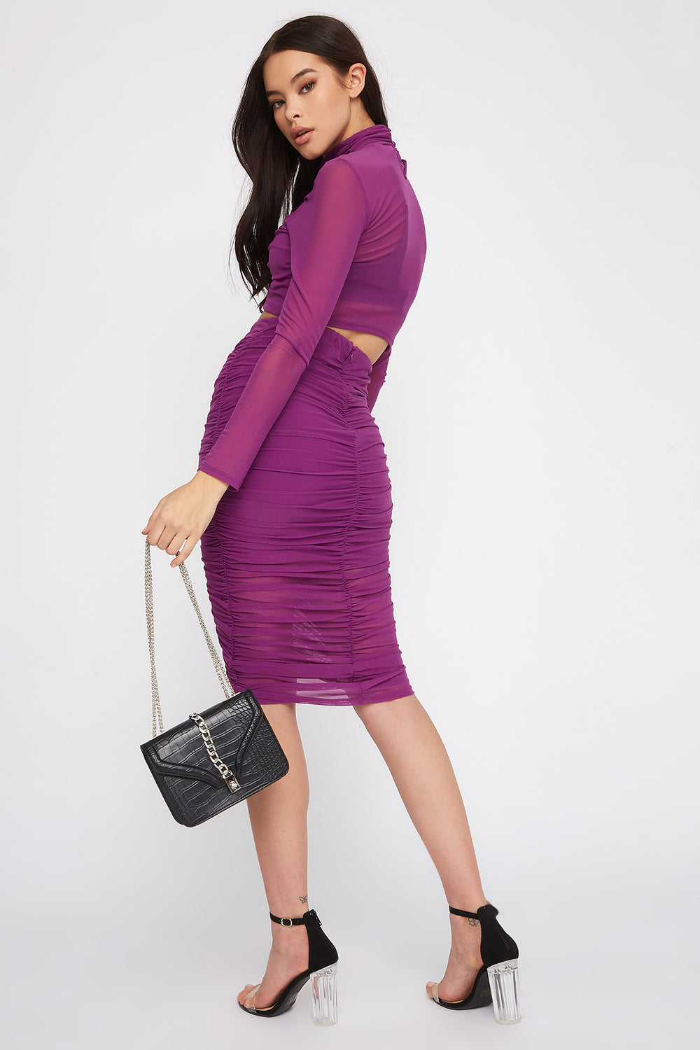 Drawstring Mesh Midi Skirt Purple