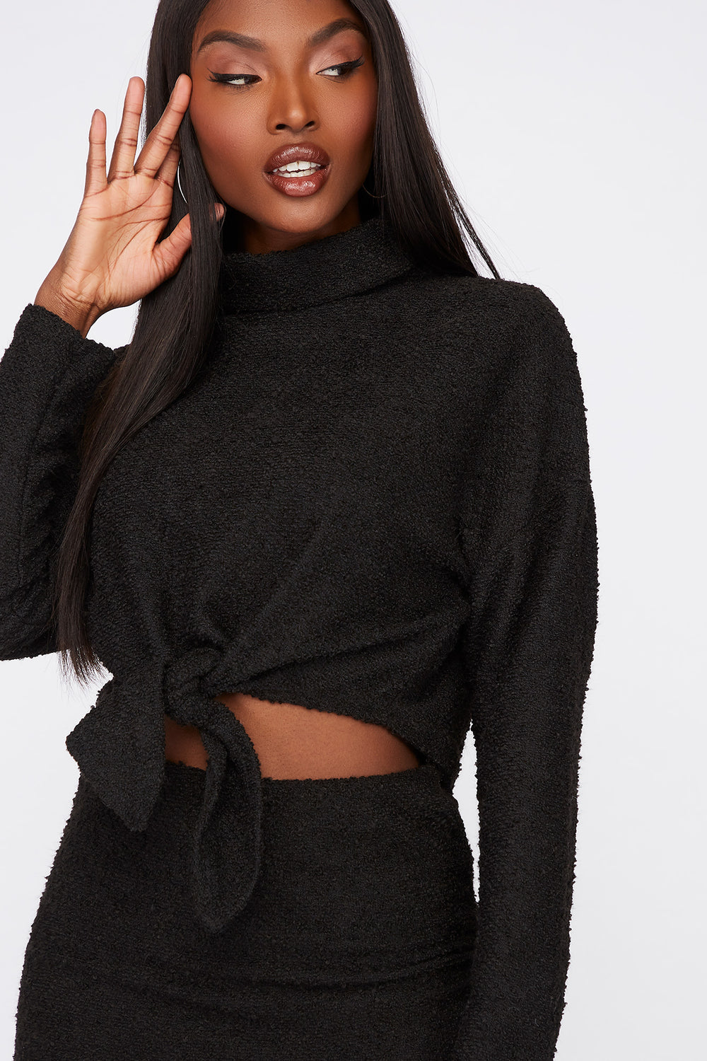 Textured Knit Cowl Neck Cropped Sweater Black