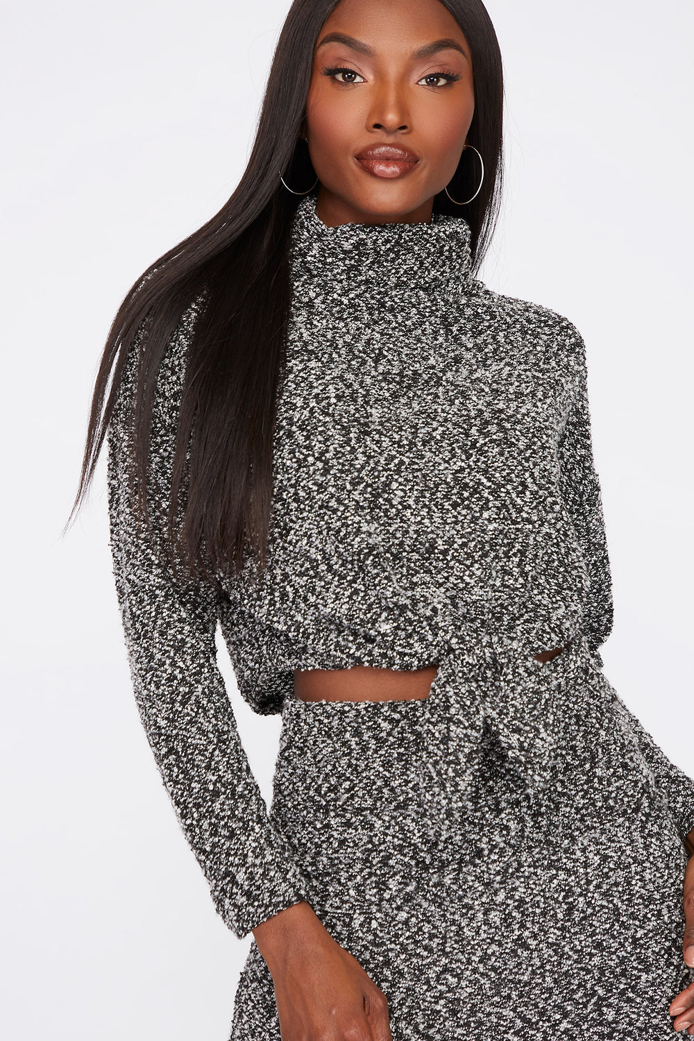 Textured Knit Cowl Neck Cropped Sweater Black with White