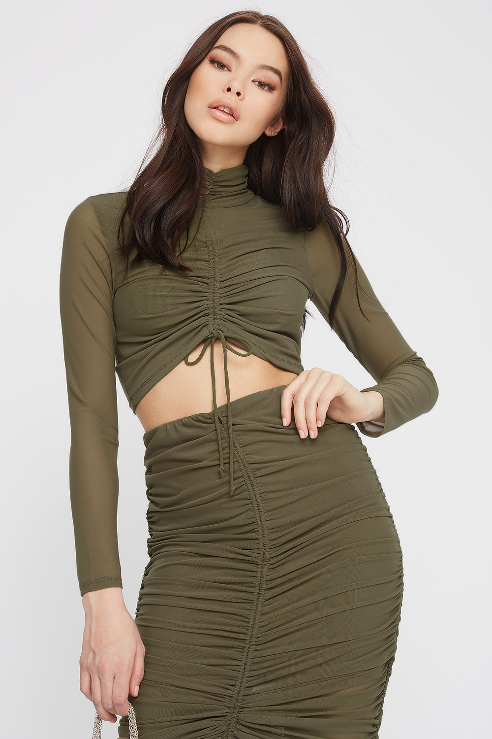 Drawstring Mesh Cropped Long Sleeve Dark Green