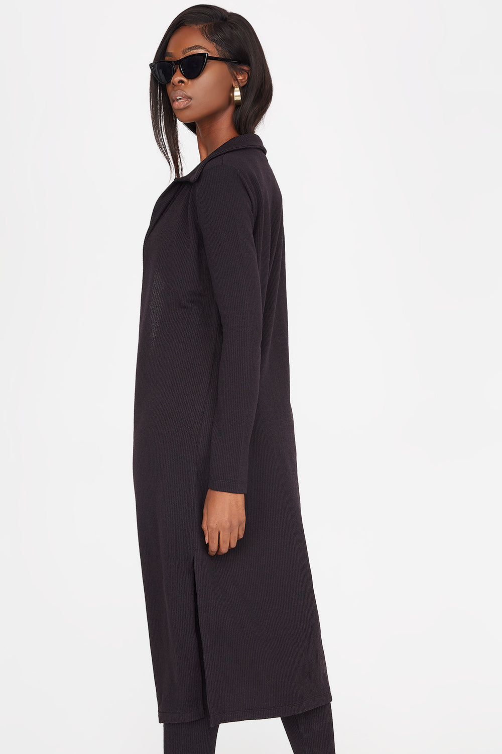Knit Open Front Collared Longline Cardigan Black