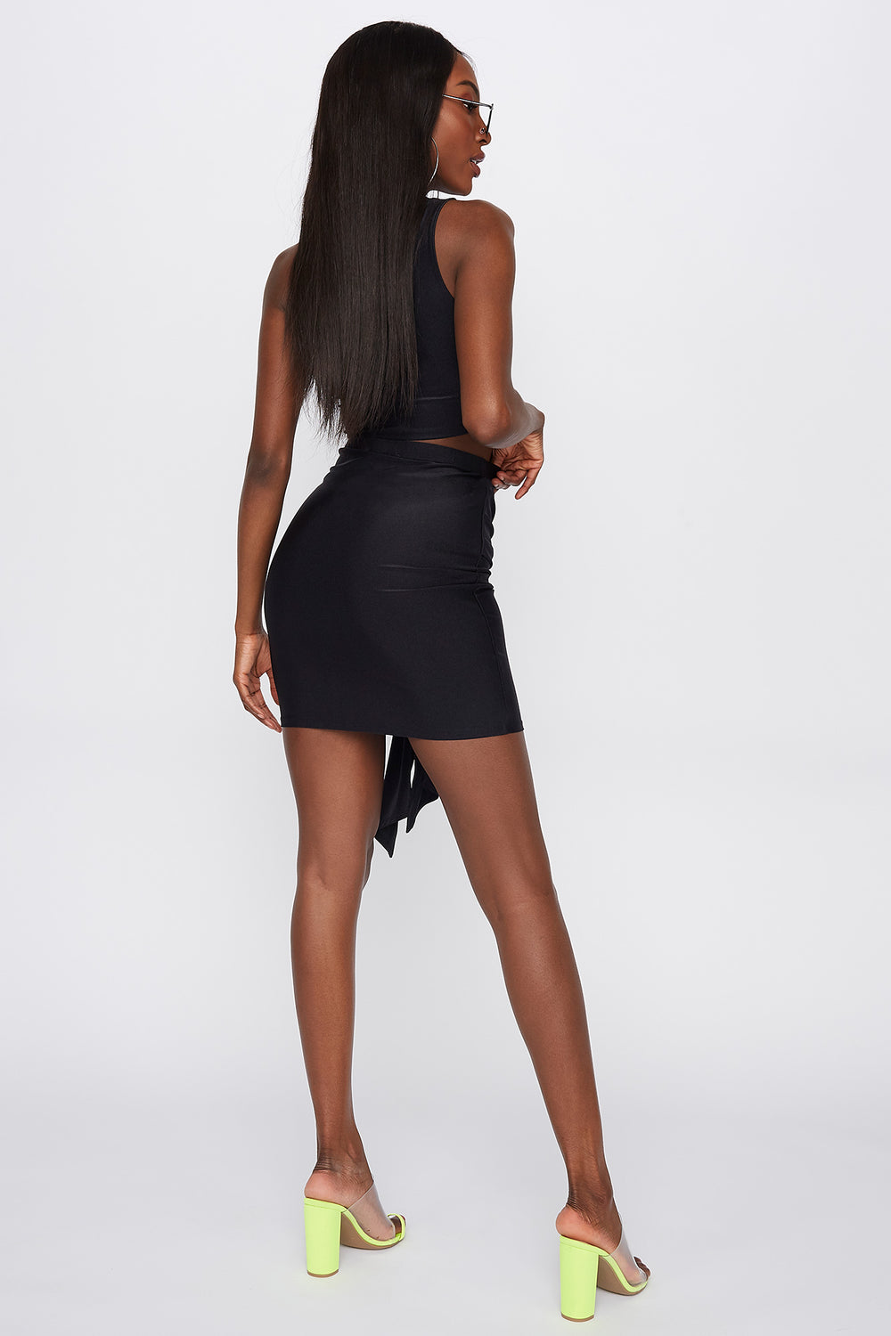 Crystal Tie-Front Mini Skirt Black