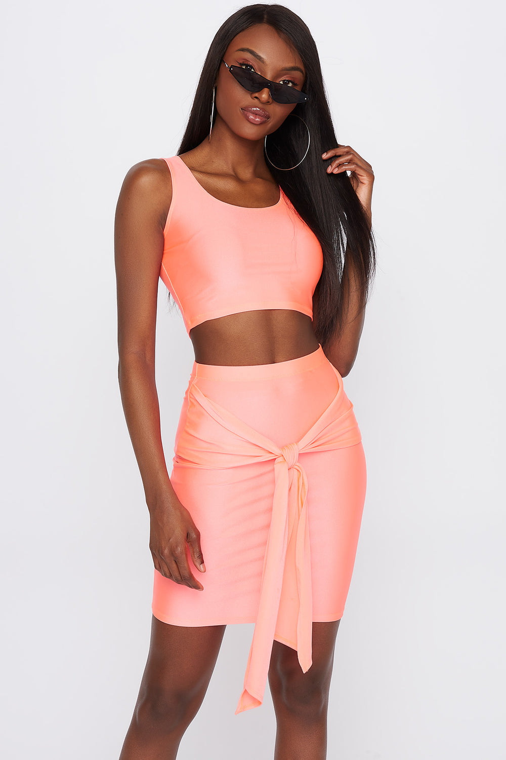 Crystal Tie-Front Mini Skirt Neon Pink