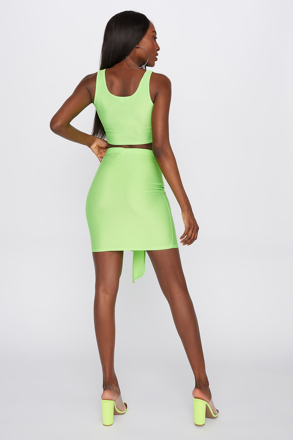 Crystal Tie-Front Mini Skirt Neon Green