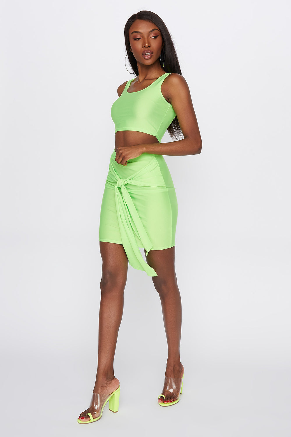 Crystal Basic Cropped Tank Top Neon Green