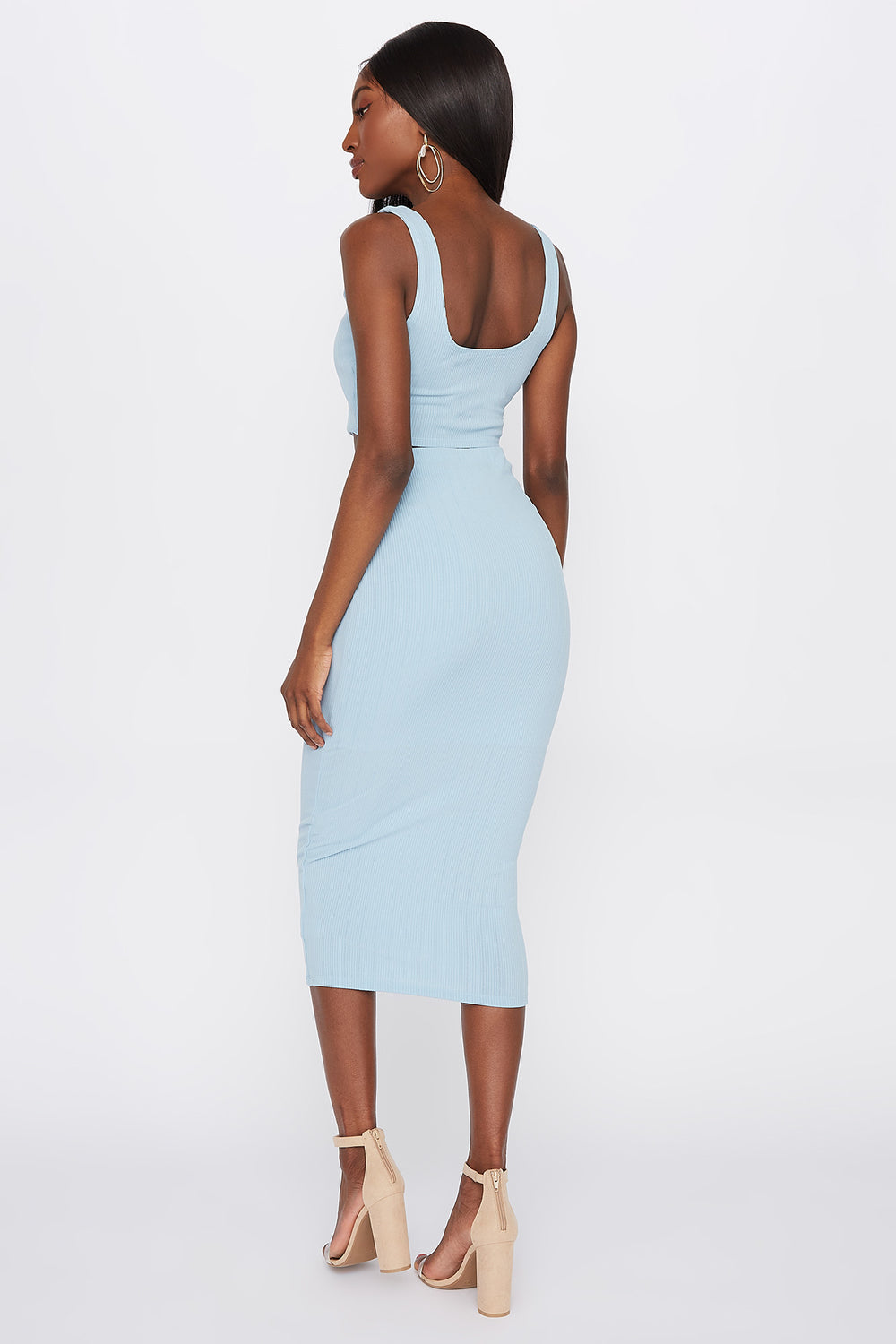Ribbed Tie-Front Midi Skirt Light Blue