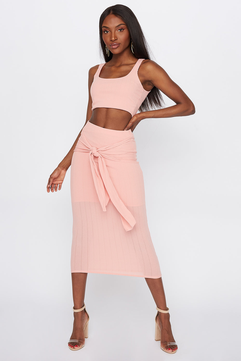 Ribbed Tie-Front Midi Skirt Dusty Rose