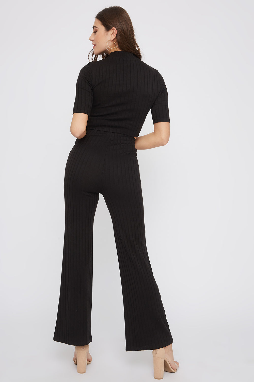 Ribbed High-Rise Flare Pant Black