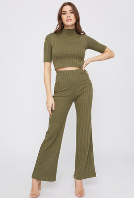Ribbed High-Rise Flare Pant