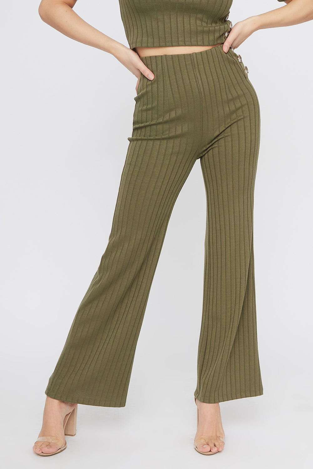 Ribbed High-Rise Flare Pant Dark Green
