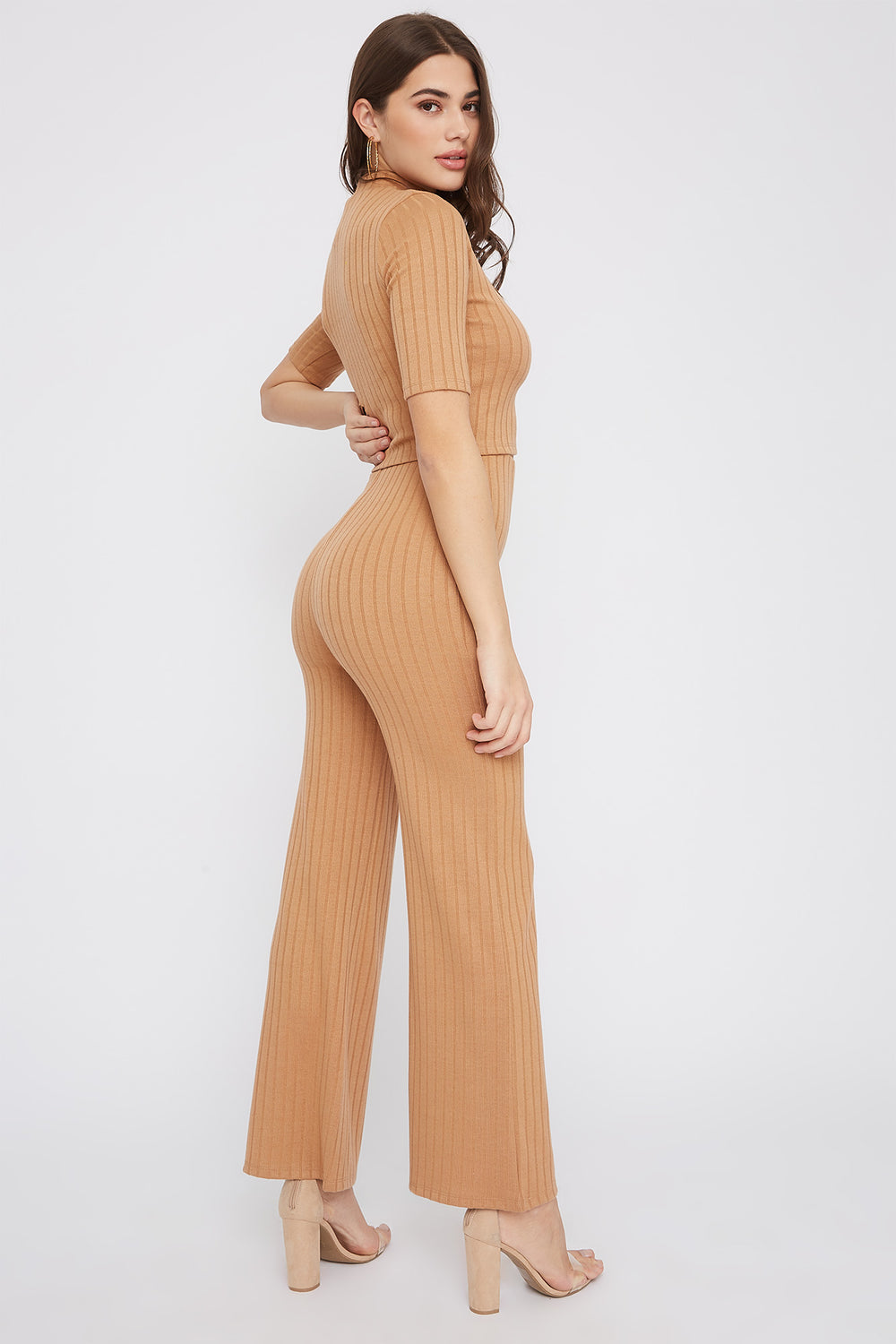 Ribbed High-Rise Flare Pant Taupe