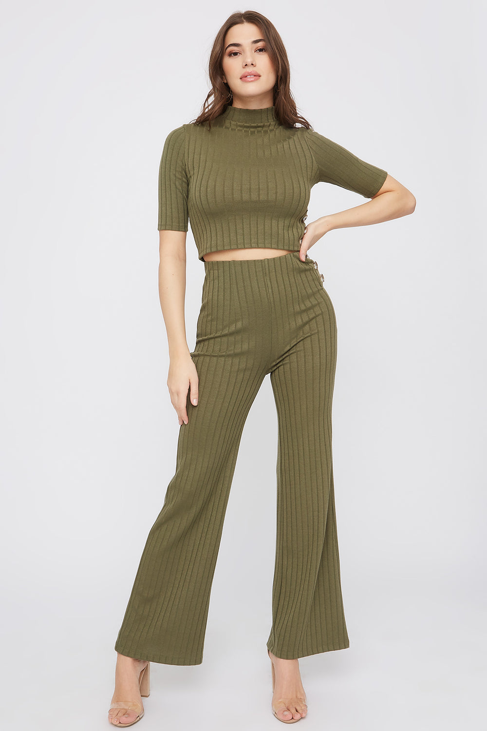 Cropped Ribbed Mock Neck Top Dark Green