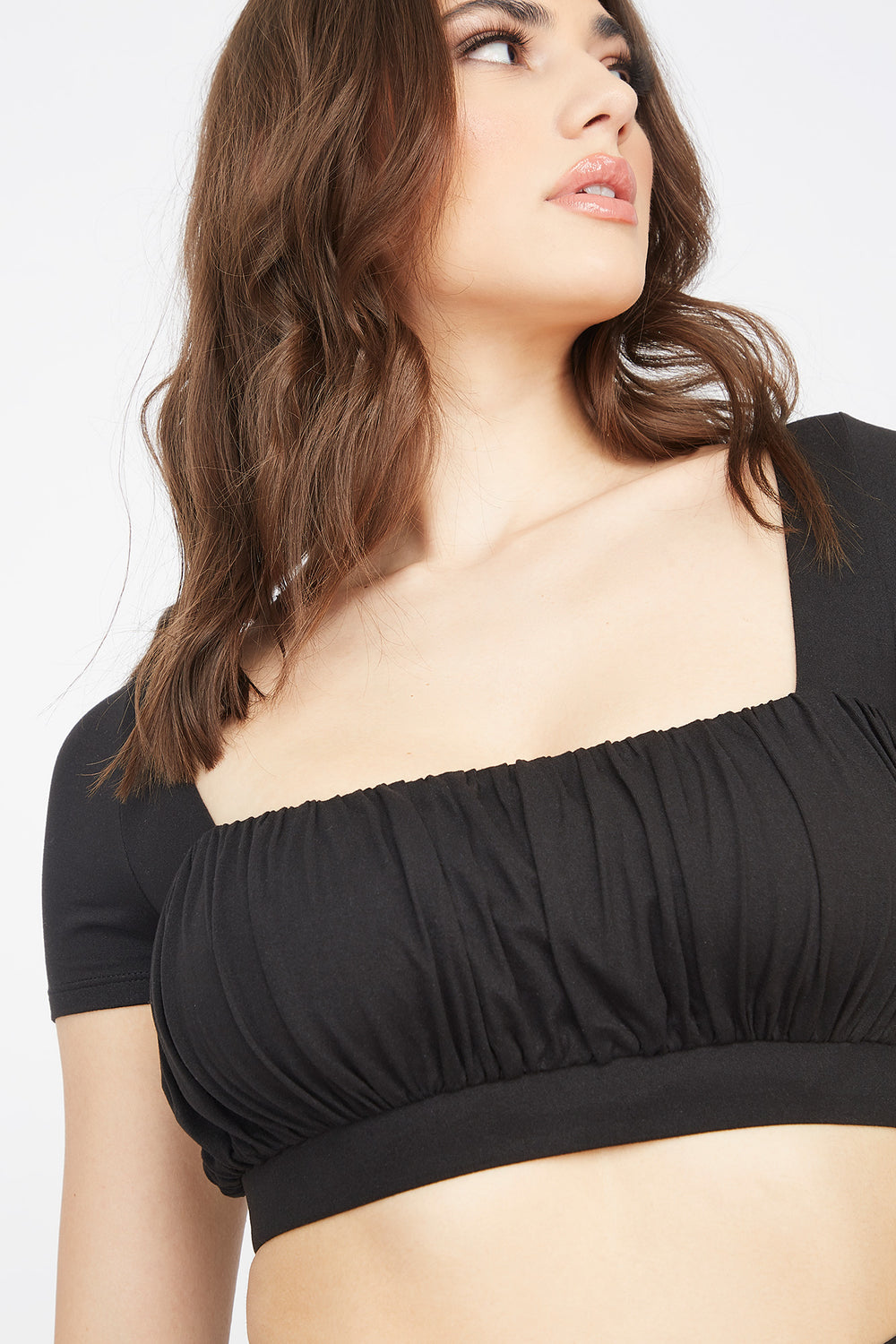 Soft Ruched Square Neck Cropped Top Black