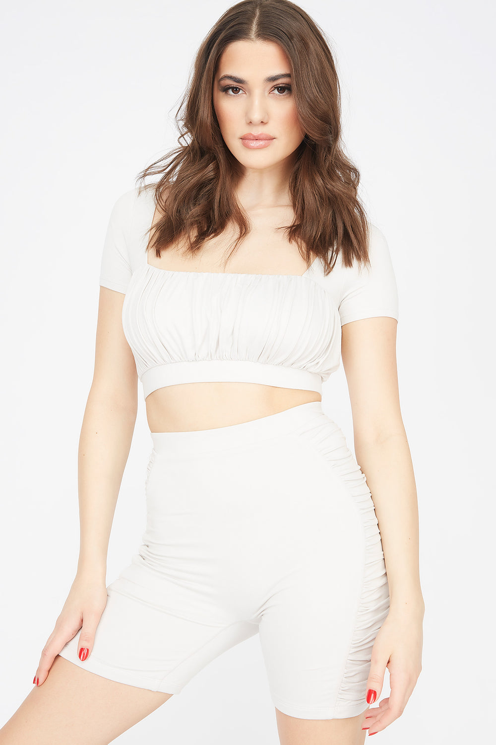 Soft Ruched Square Neck Cropped Top Off White