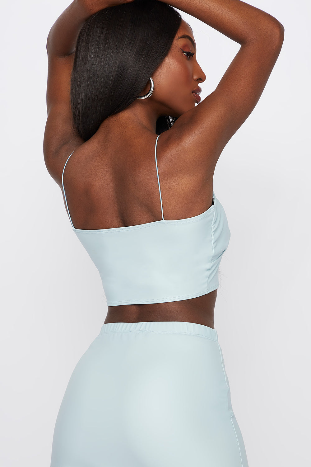 Faux-Leather Ruched Cropped Top Light Blue