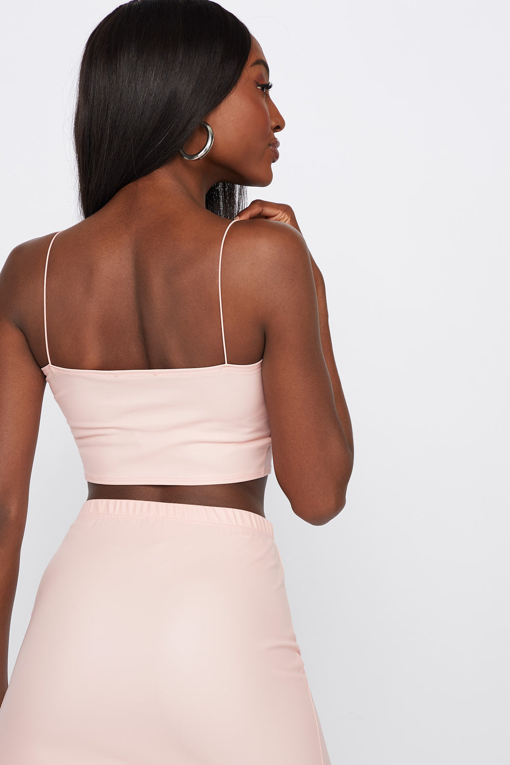 Faux-Leather Ruched Cropped Top Pink