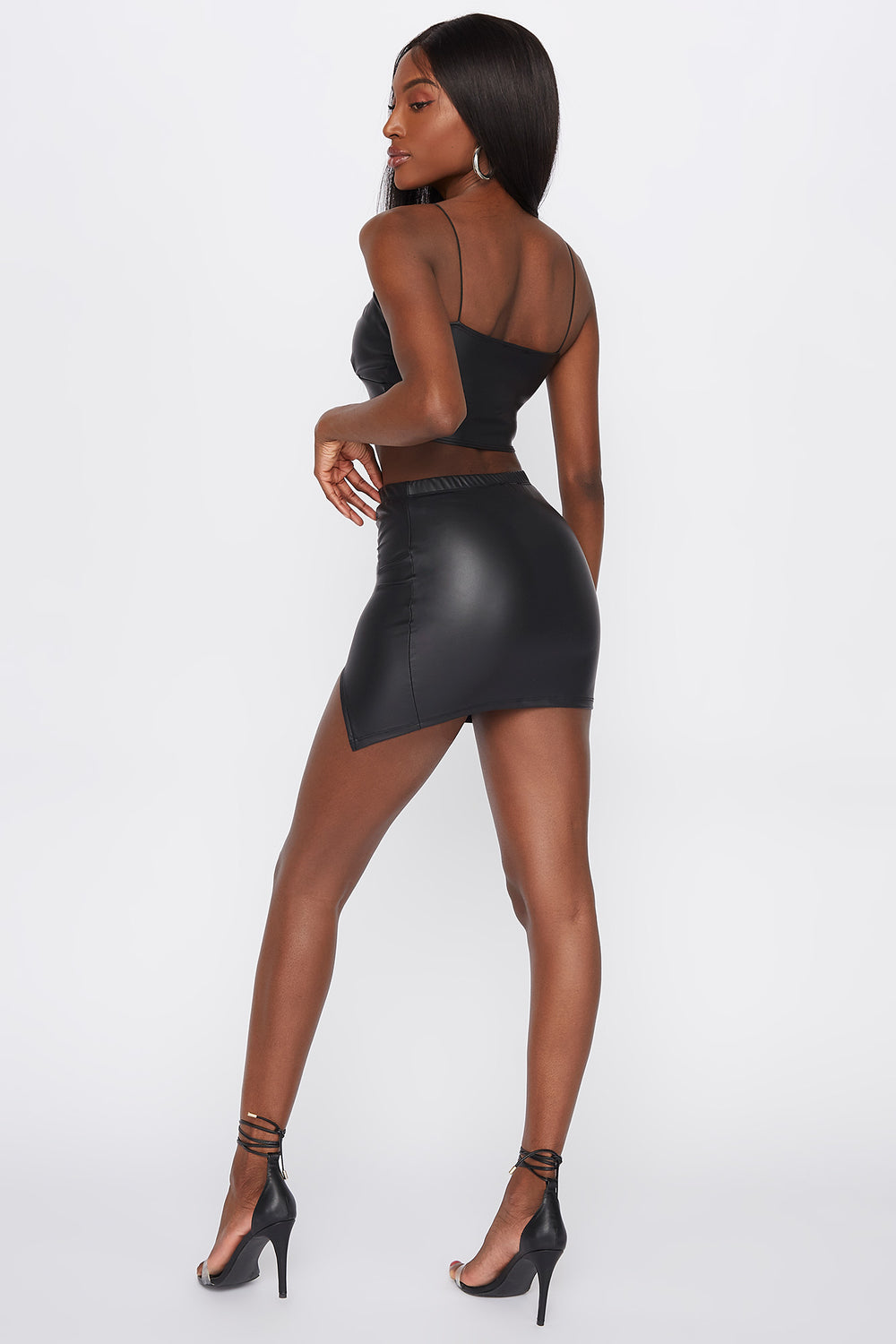 Faux-Leather Ruched Slit Mini Skirt Black