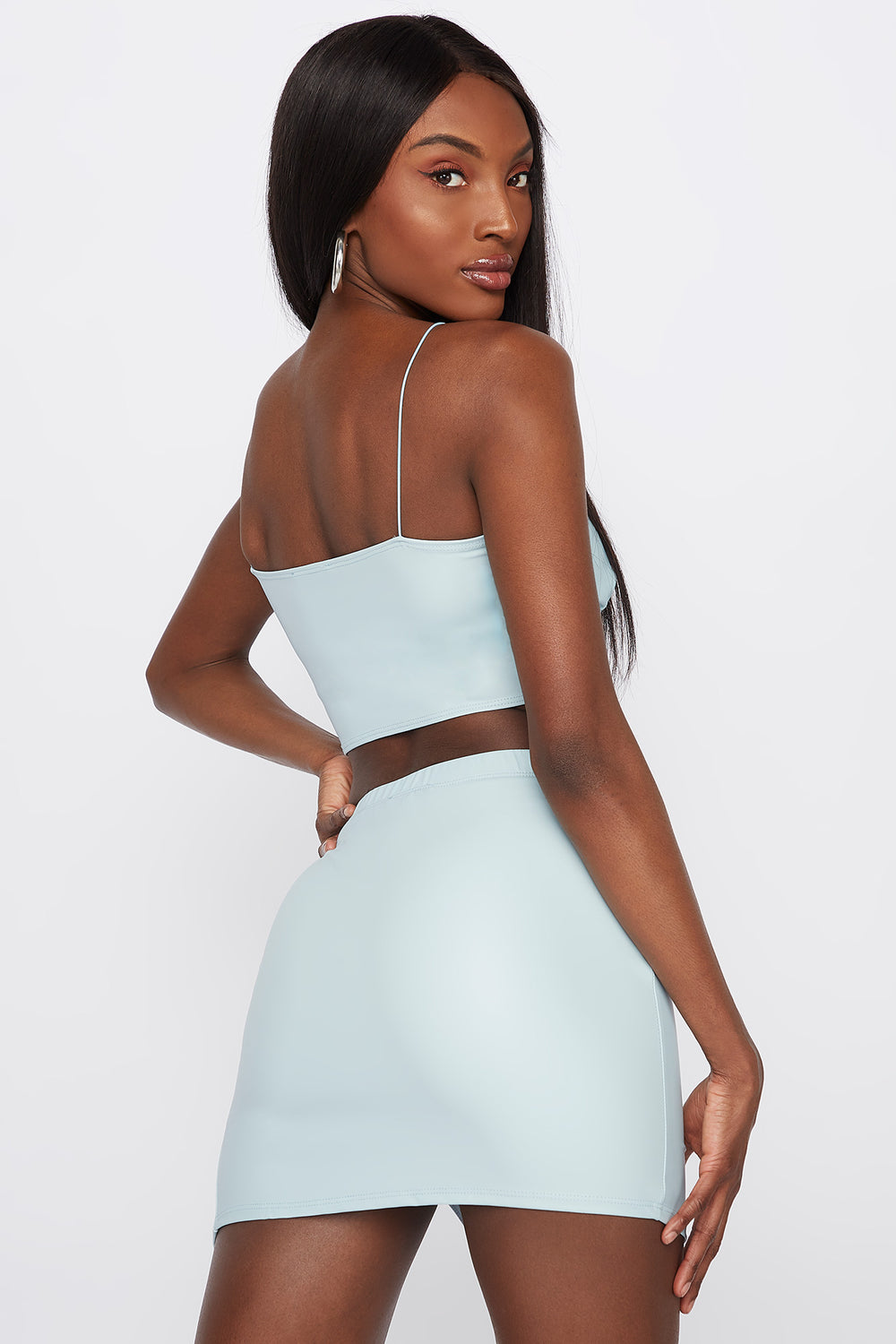 Faux-Leather Ruched Slit Mini Skirt Light Blue