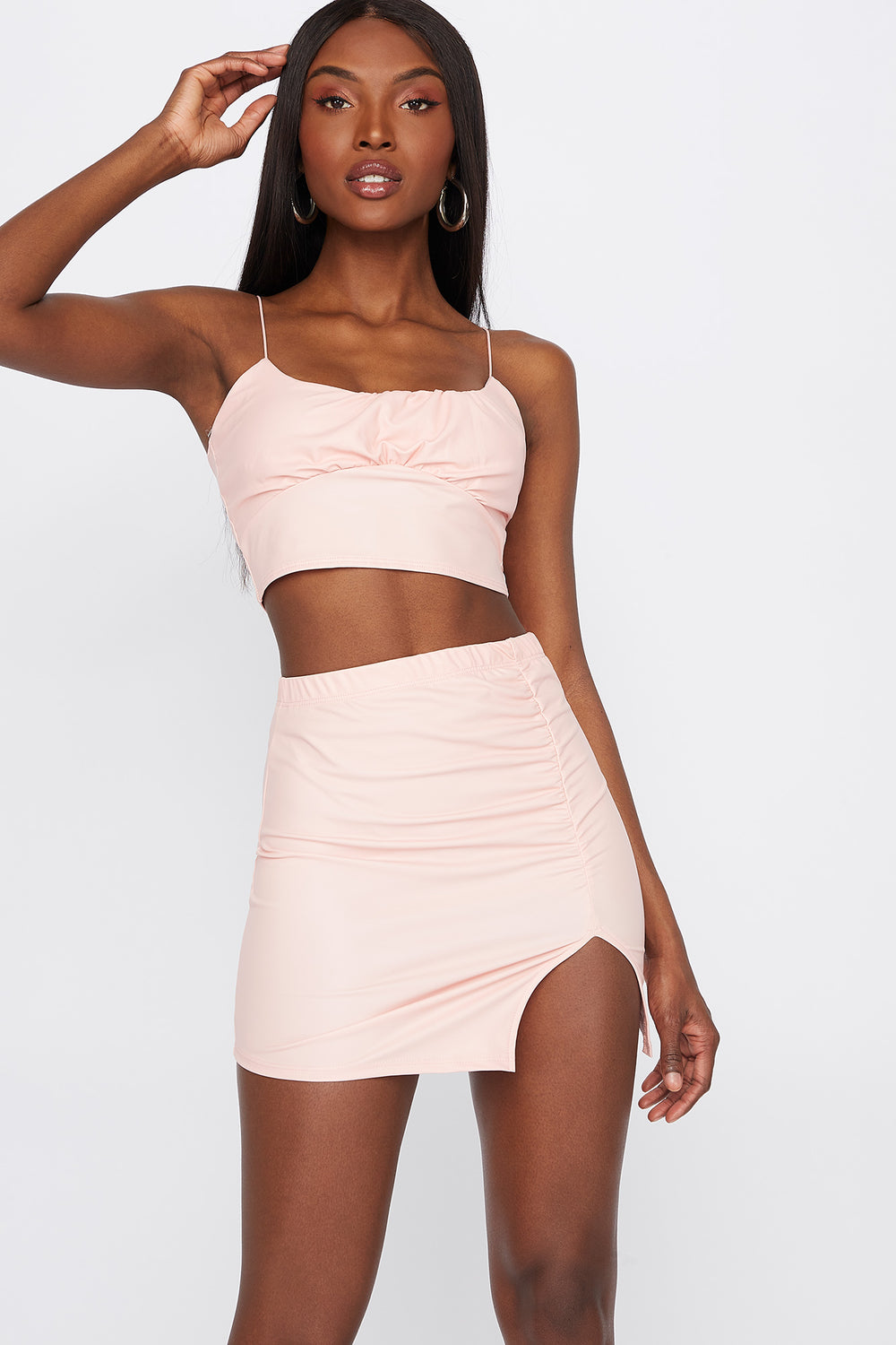 Faux-Leather Ruched Slit Mini Skirt Pink