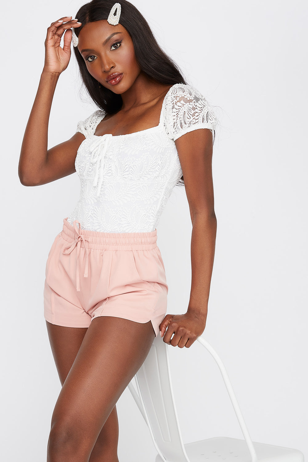 Solid Drawstring Short Dusty Rose