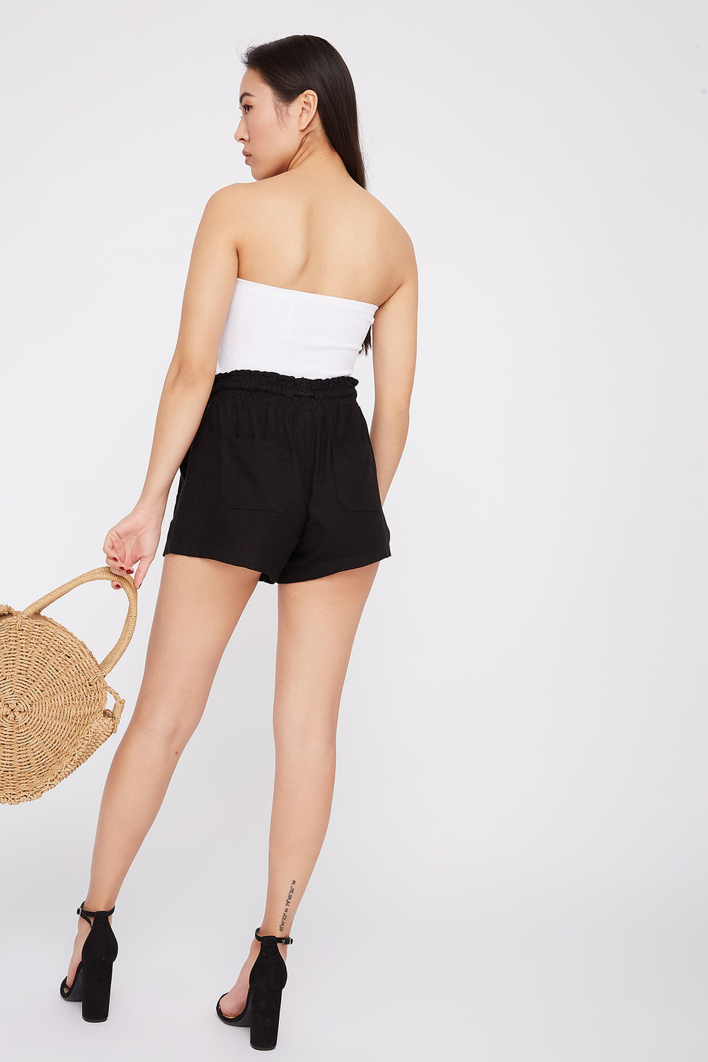 Drawstring Linen Short Black