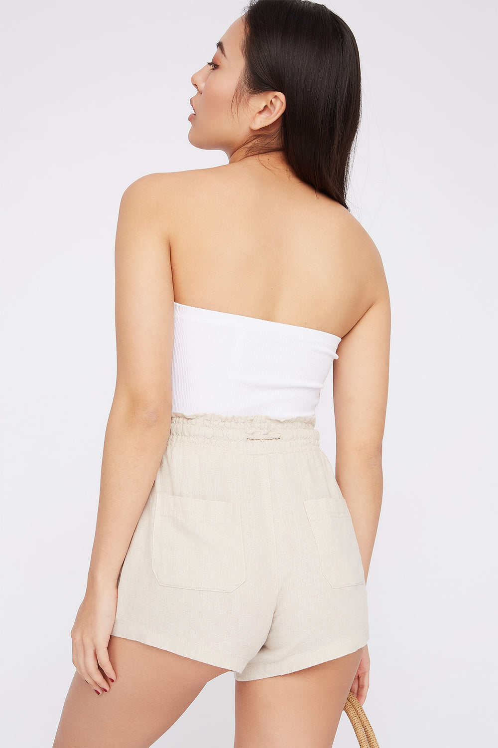 Drawstring Linen Short Natural