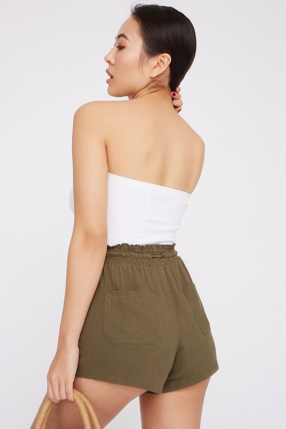 Drawstring Linen Short Dark Green