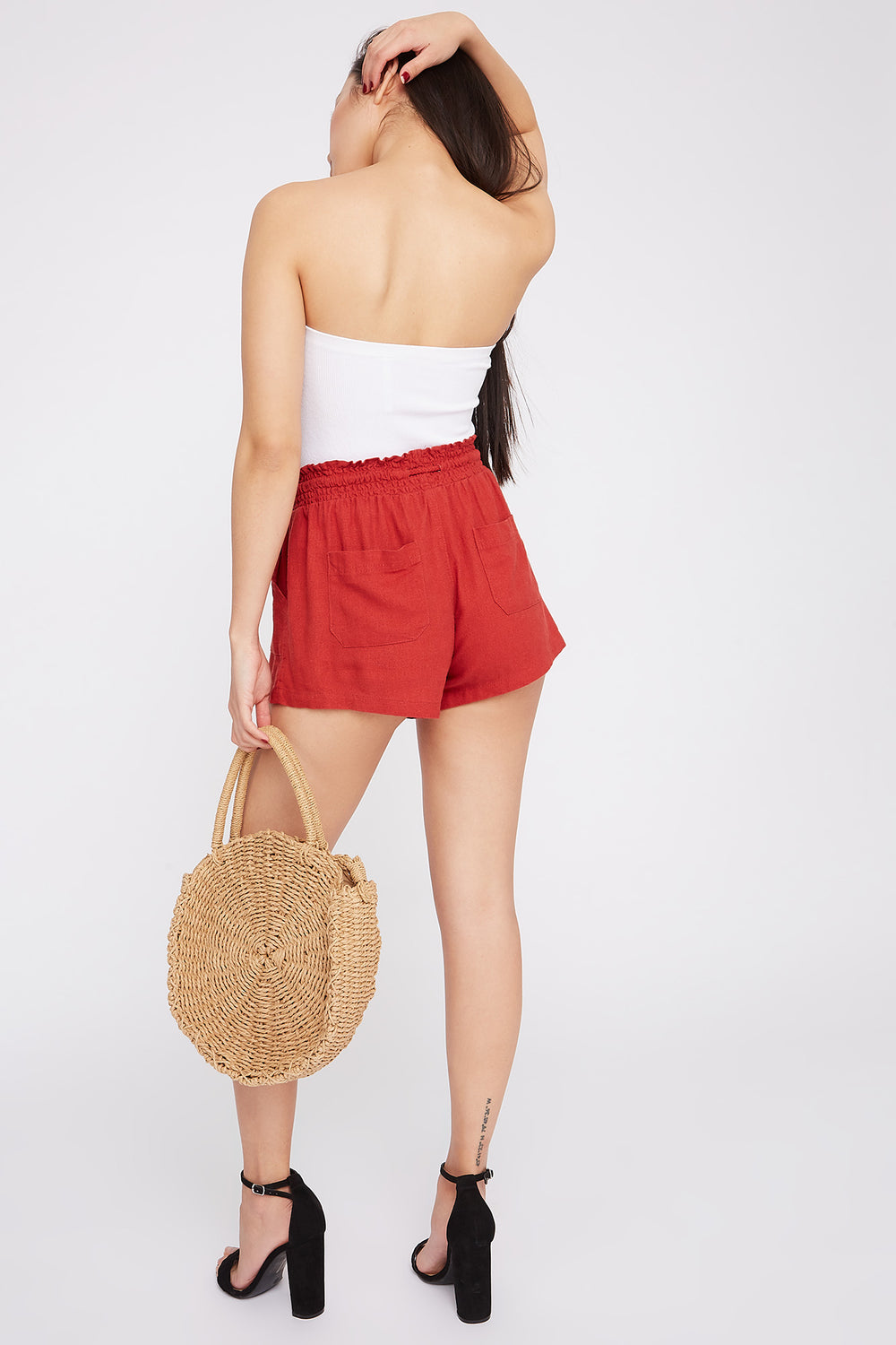 Drawstring Linen Short Rust