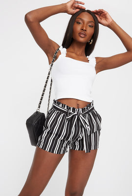 Striped Self Tie Paperbag Short