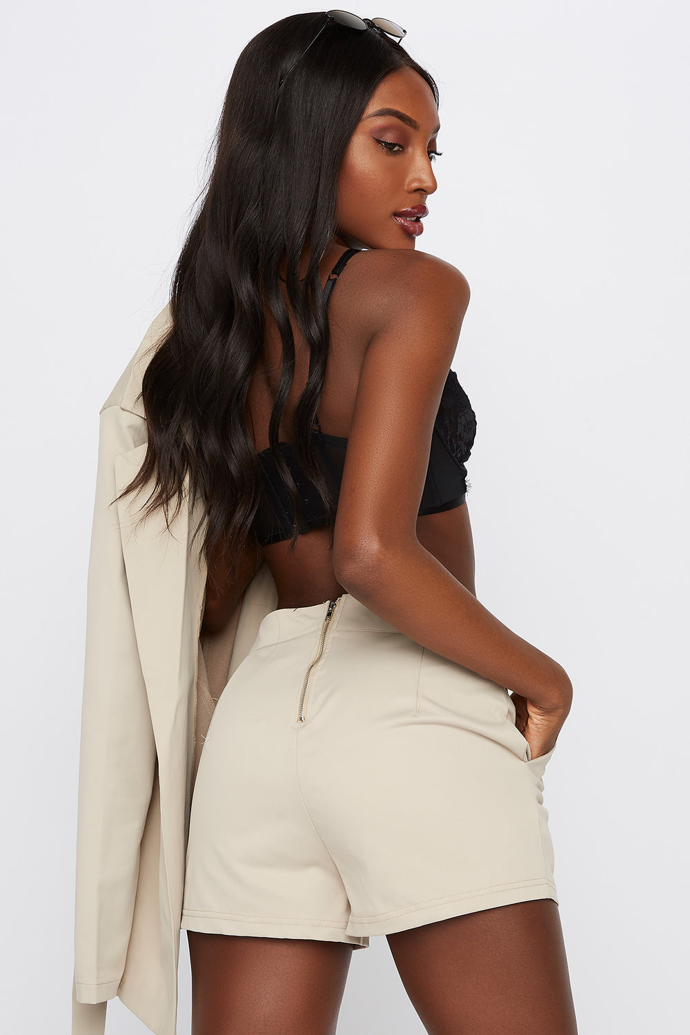 Pull-On High-Rise Short Taupe